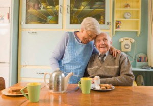 Elderly, couple, breakfast, home