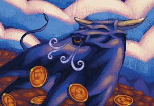 Finance, bull, market, stock