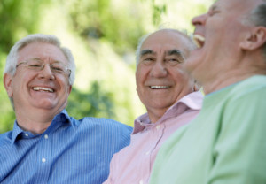 men, elderly, group, laughing, happy