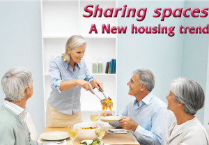 Group, dining, home, men, women