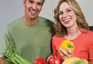 Couple, health, vegetables, diet