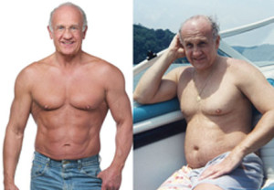 Dr. Jeffry Life, supposedly transformed into a ripped hulk of himself.