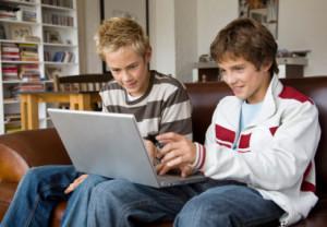 Teenage boys laptop computer grandchildren, grandchild