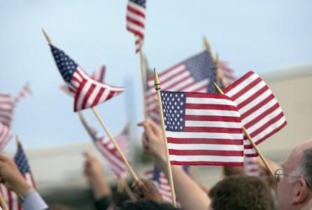 Crowd, flags, patriotism, American
