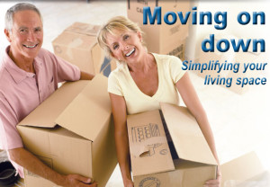 moving, couple, boxes, downsizing, home