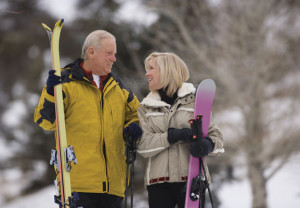 Couple, skiing, winter, exercise