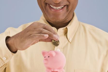 Finance, money, savings, man, piggy bank