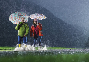 Couple, outdoors, rain, happy, laughing