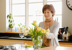 Woman, home, flower, arrangement, health, smell