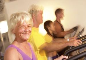 Older woman, treadmill, exercise, health