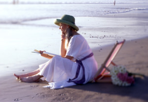 Woman, relaxing, health, beach, mediating