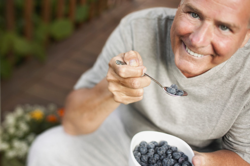 health, healthy, fruit, man, blueberries, eating
