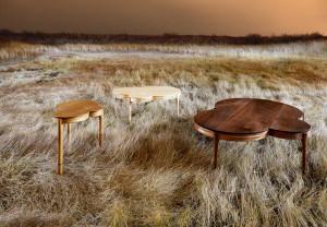 "Matt Hutton's walnut or cherry coffee table, ""Crop Circles"""