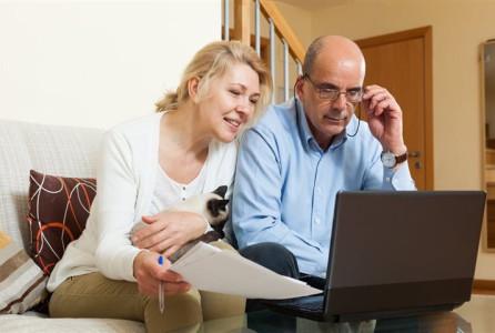 Couple, man, woman, computer, budget, finance, retirement