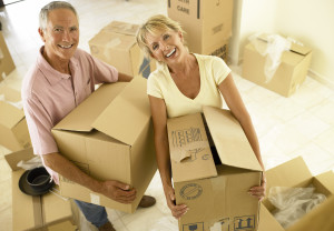 packing, moving, couple, home, housing, downsizing