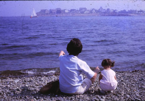 Eggert, as a toddler, with her mom watching boats