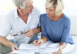 Couple, paperwork, retirement, planning, finance