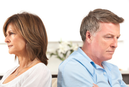 Mature couple fighting back to back divorce