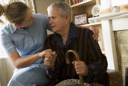 elderly, man, nurse, caregiver, caregiving