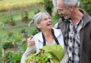 Couple, smiling, lettuce, field, health, food, superfoods
