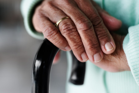 Elderly, Hands, cane, nursing home, assisted living