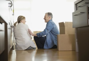 Couple, moving, home