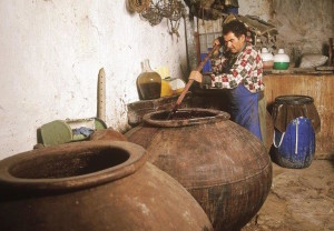 Making wine in terra cotta pots