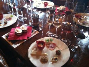 Food-and-wine pairing in Castello Di Amorosa's royal apartment.