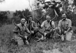 "EH6914P             ca. 1934  Ben Fourie, Charles Thompson, Philip Percival and Ernest Hemingway pose with three antelope skulls and one antelope skull while on safari at Keijunga Camp, Tanganyika  Please credit: ""Photographer Unknown. Ernest Hemingway Papers. Photograph Collection. John F. Kennedy Presidential Library and Museum, Boston."""