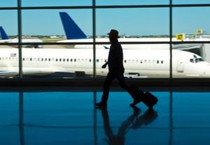 airport, plane, travel, man, walking