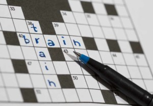Crossword puzzle with the words brain and health