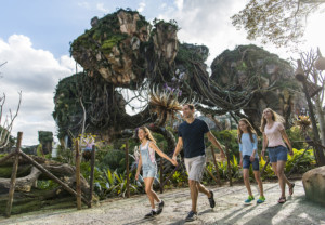 Floating mountains grace the sky while exotic plants fill the colorful landscape inside Pandora - The World of AVATAR, opening May 27, 2017, at Disney's Animal Kingdom. Pandora - The World of AVATAR will bring a variety of new experiences to the park, including a family-friendly attraction called Na'vi River Journey and new food & beverage and merchandise locations. Disney's Animal Kingdom is one of four theme parks at Walt Disney World Resort in Lake Buena Vista, Fla. (Matt Stroshane, photographer)