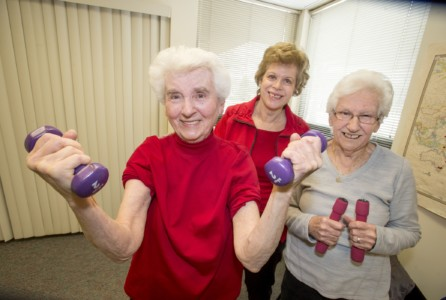 (L to R)  Ruth Gottlieb, Susan Kaplowitz, professor of Kinesiology and Health and Jean Timper pose for a picture after healthy bones session.
