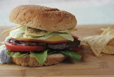Grilled Portobello Burger With Cilantro Garlic Sauce And Tortilla Chips