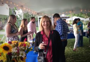 Marie Pimley enjoys a libation in the V.I.P tent at Vintage & Vine.