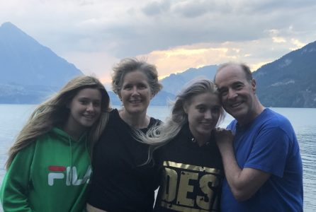 Bruce Horovitz with his wife, Evelyne, and daughters, Becca (left) and Rachel, at a lakeside campground near Interlaken, Switzerland, where the family travels each summer. (Courtesy of Bruce Horovitz)