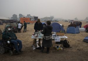 Most of the seniors displaced by the Camp Fire had moved on from the tent camp at Walmart by Friday. (Brian Rinker/California Healthline)