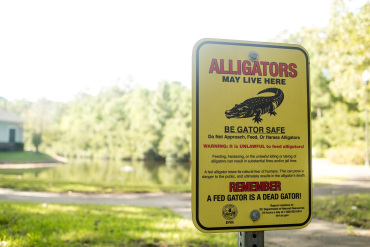 A sign near the pond behind Brookdale Charleston warns about the potential risk of alligators. (Leigh Webber for KHN)