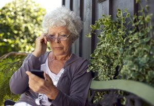 elderly, woman, phone, cell,