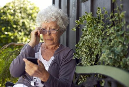 elderly, woman, phone, cell,