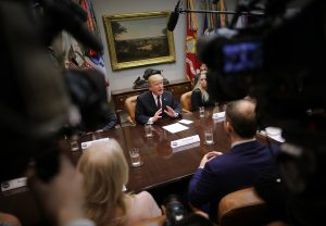 WASHINGTON, DC - JANUARY 23: U.S. President Donald Trump delivers remarks to reporters while participating in a roundtable about 'fair and honest pricing in healthcare' in the Roosevelt Room at the White House January 23, 2019 in Washington, DC. During the meeting Trump said 2018 was the first time in over 50 years that prescription drug prices declined. (Photo by Chip Somodevilla/Getty Images)