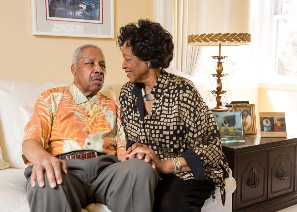 Gloria Brown is the primary caregiver for her husband, Arthur, who was diagnosed with Alzheimer's disease four years ago. (Emma Marie Chiang for Kaiser Health News)
