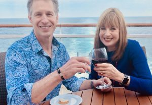 Sondra, David drinking on cruise. alcohol