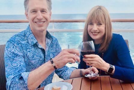 Sondra, David drinking on cruise. alcohol