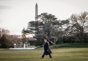 WASHINGTON, DC  JANUARY 9: U.S. President Donald Trump walks to Marine One on the South Lawn of the White House on January 9, 2020 in Washington, DC. President Trump is headed to a campaign rally in Toledo, Ohio on Thursday evening. (Photo by Drew Angerer/Getty Images)